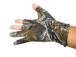 Fino Sin Dedos Guantes de gel 3dedo Pesca camuflaje Camo antideslizante elástico guantes de caza y pesca